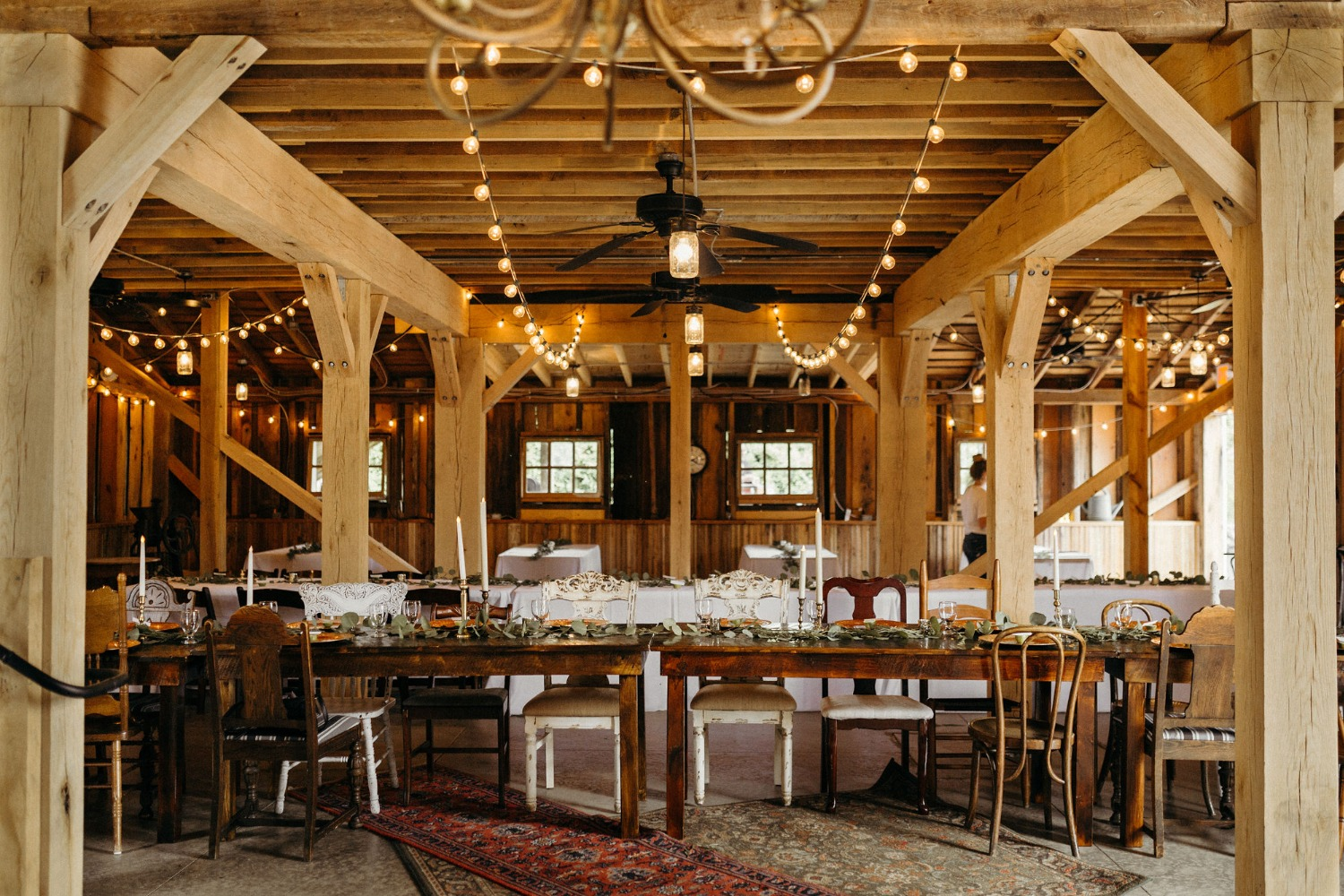Rustic indoor barn wedding