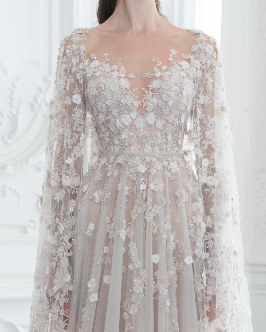 long sleeved embellished couture wedding gown