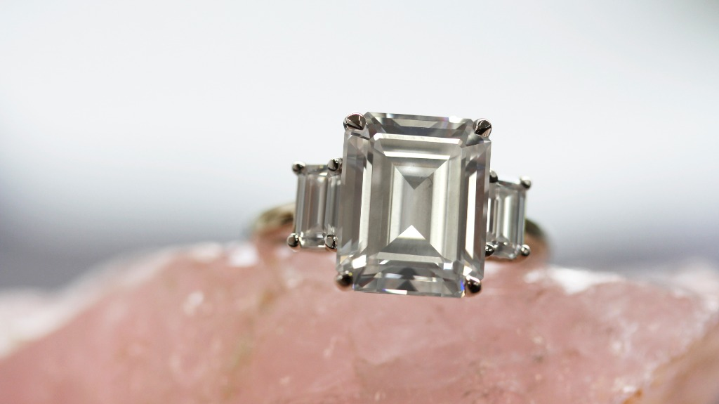 """Three-Stone Emerald-Cut Moissanite Statement Engagement Ring is the one to go for if you want to ultimately infuse the """"wow"""" factor"""