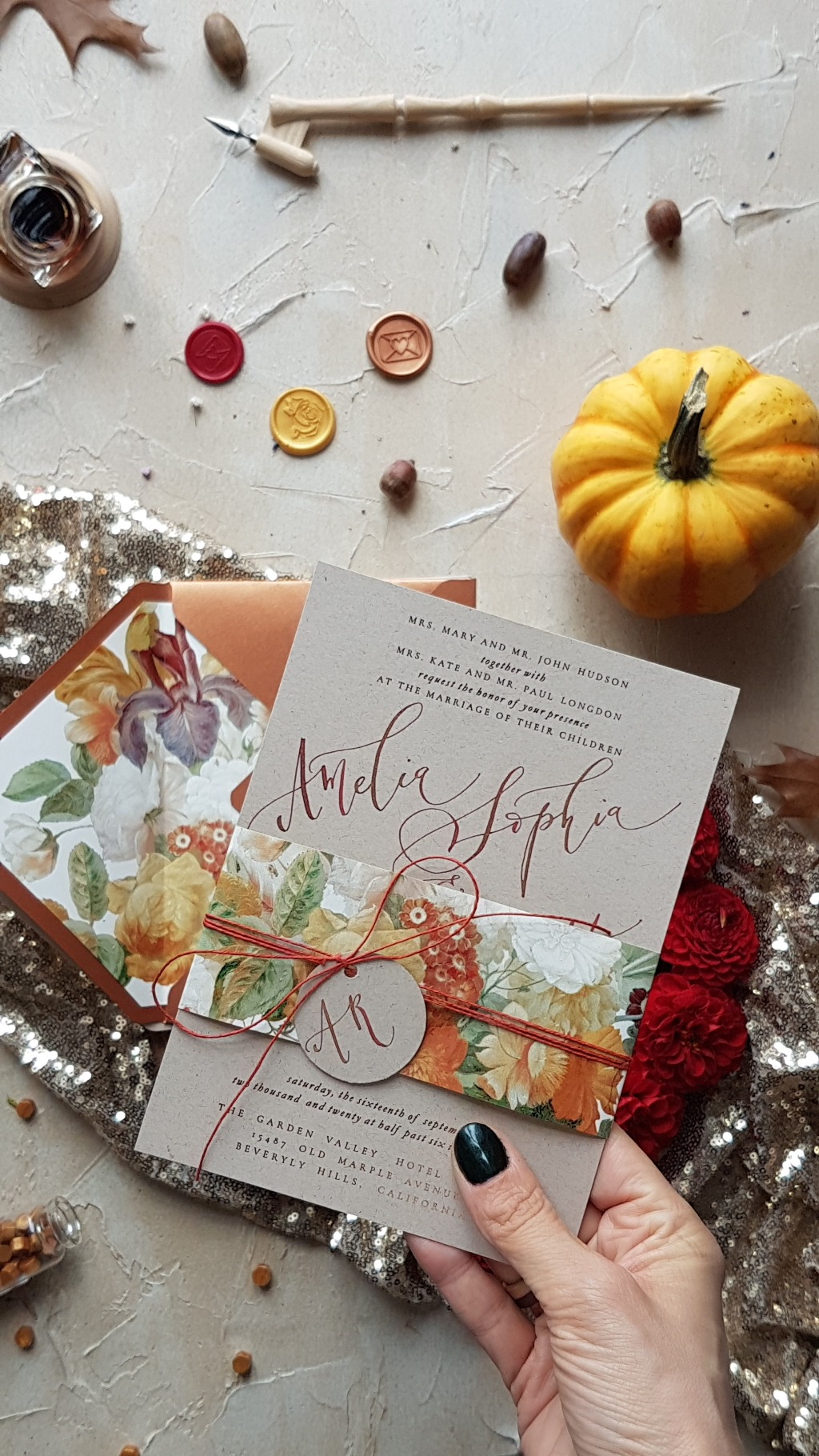 wedding invitation with calligraphy