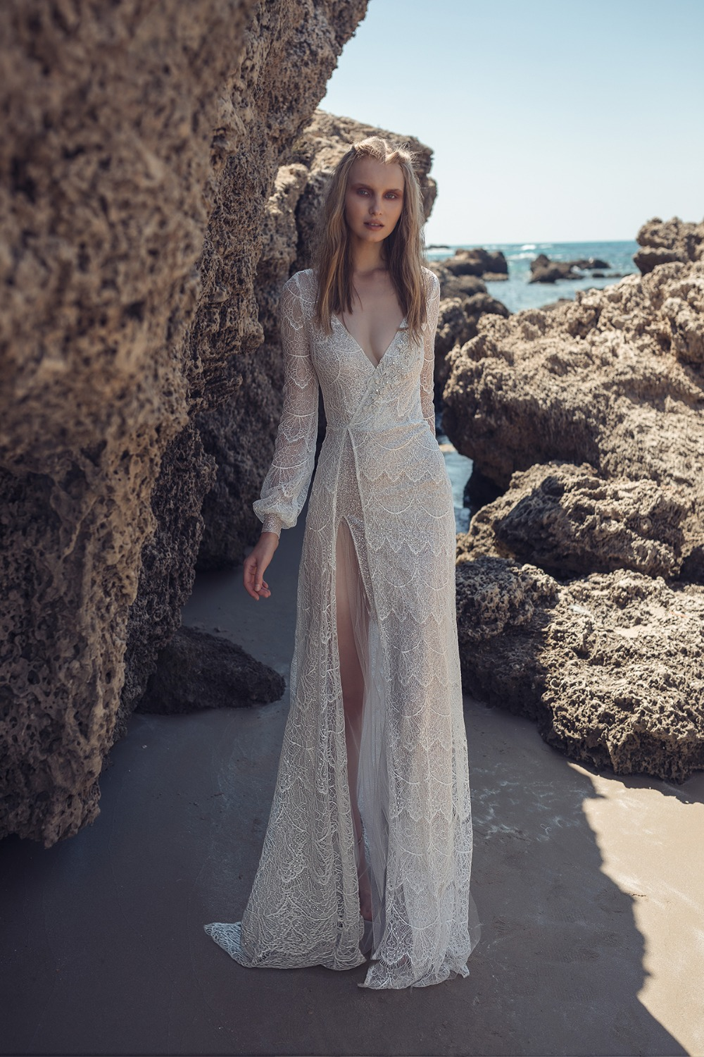 slinky lace and beaded full sleeve gown by Lilium