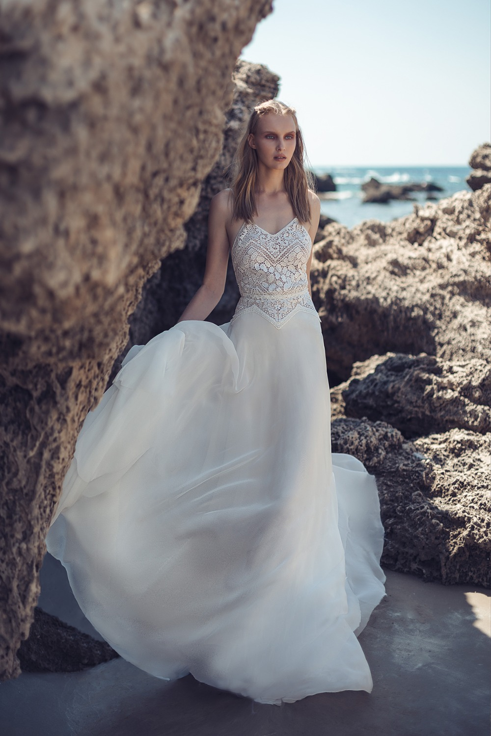 tulle skirt wedding dress with elegant top by Lilium