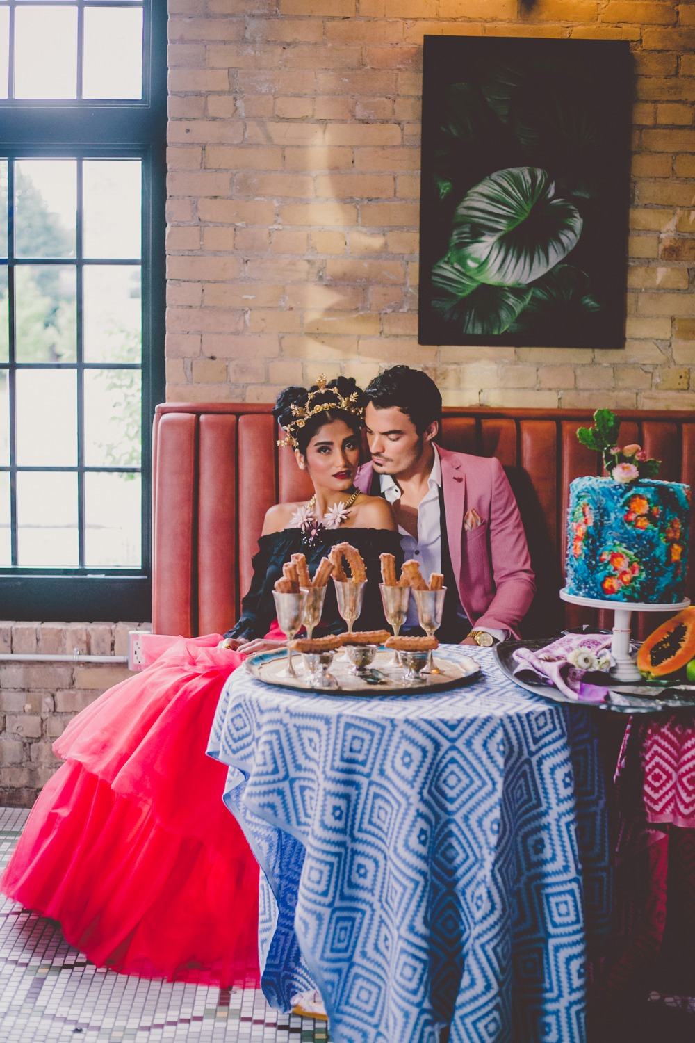 Colorful wedding reception outfit