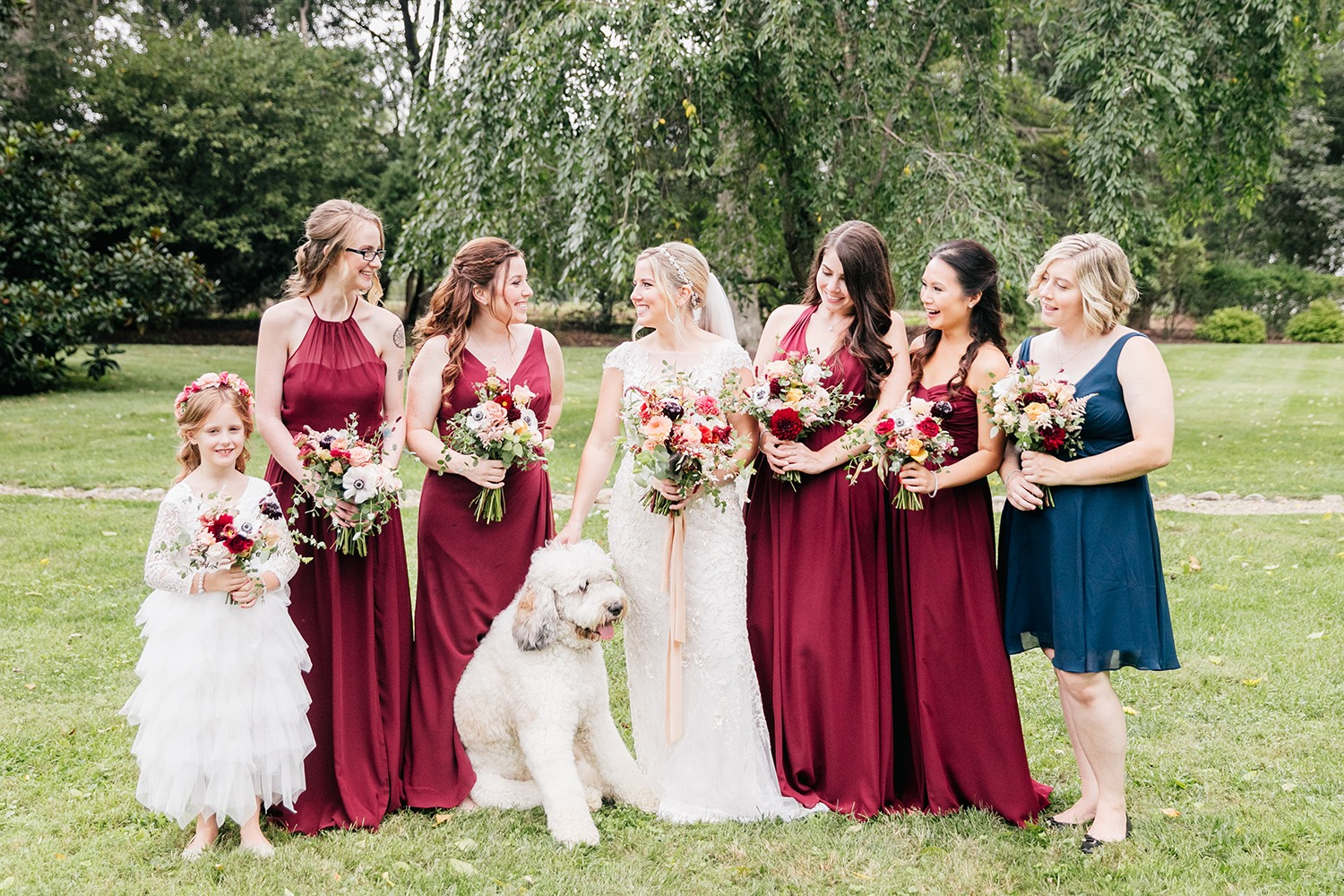 Navy and burgundy bridesmaid dresses