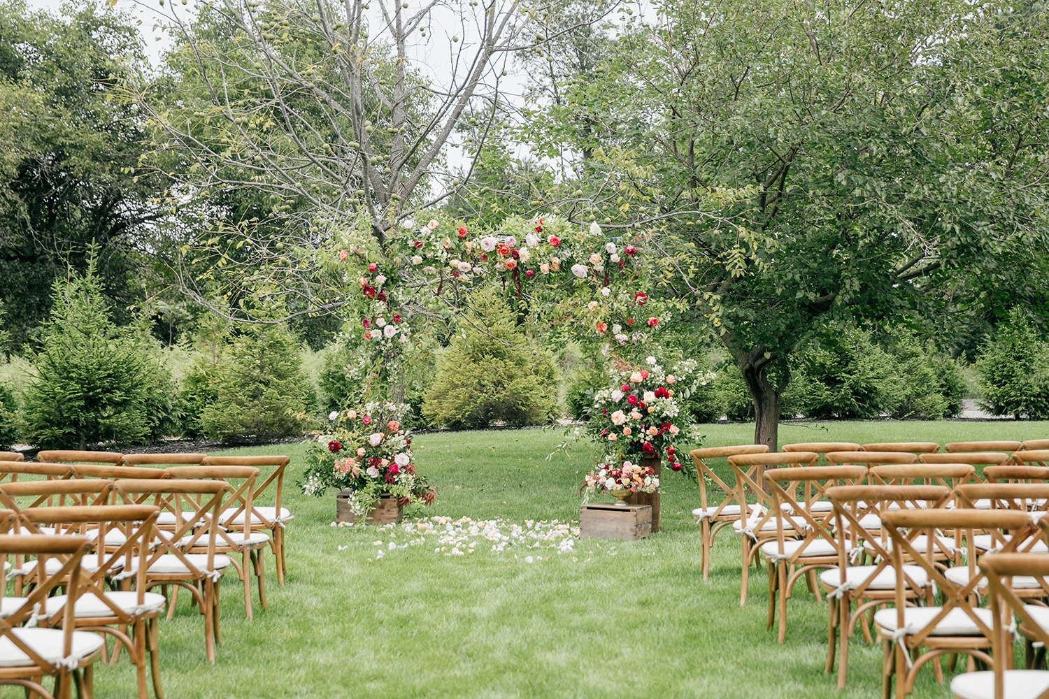 Rustic rose outdoor ceremony