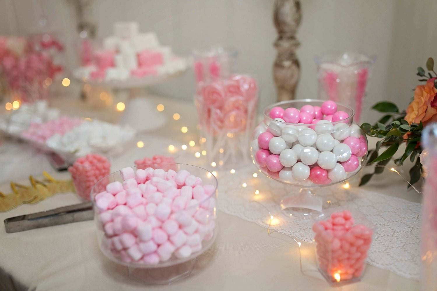 white and pink wedding candy bar