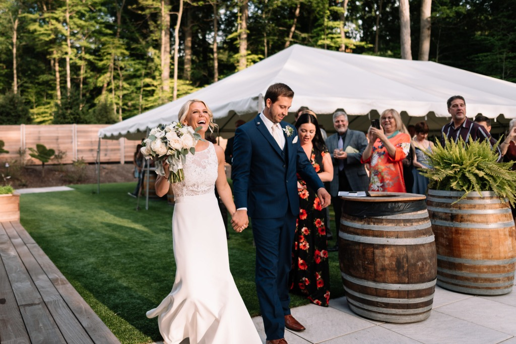 Real Lea-Ann Belter Bride MaKaela + Tony's Romantic Sapphire Creek Winery Wedding | Bridal finery: Lea-Ann Belter Arabella top, Rose