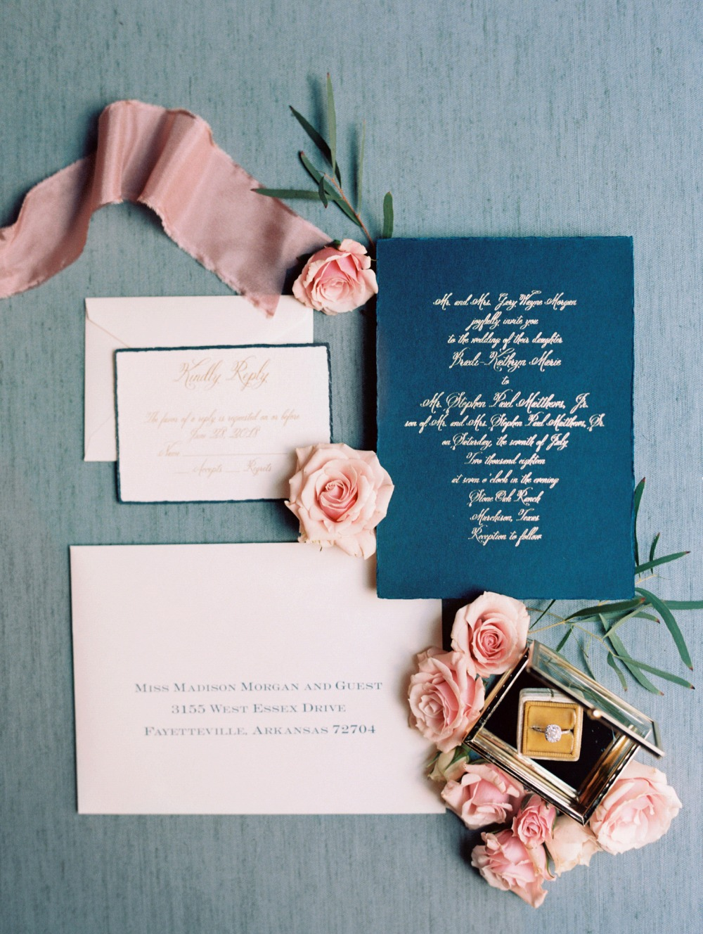 Navy and blush invitation suite