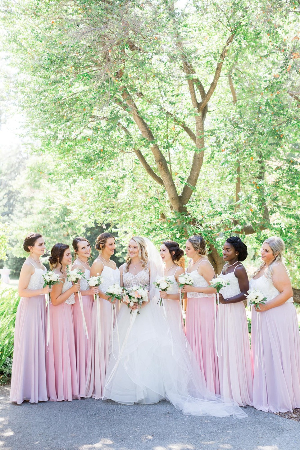 pink and blush wedding party