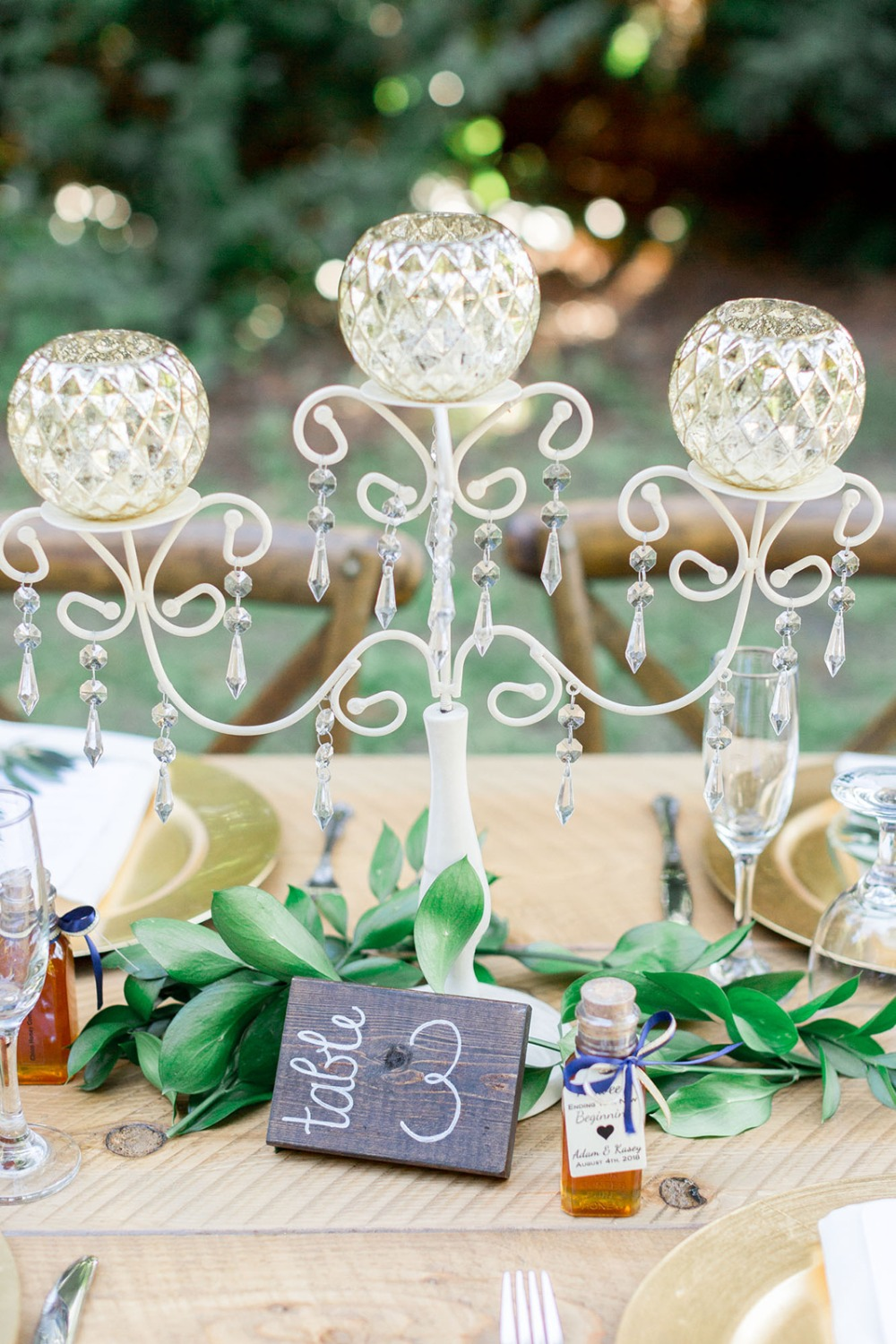 glam wedding centerpiece and table number