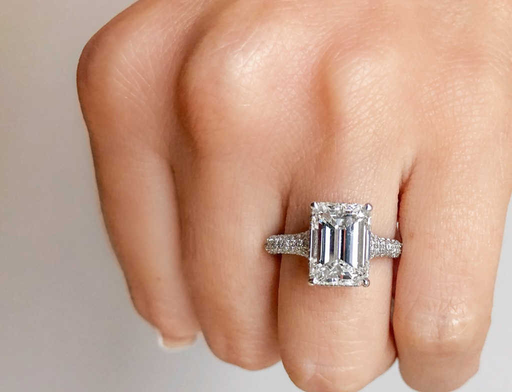 This gorgeous custom 4-carat G VS emerald-cut engagement ring is one of our favorite custom pieces to date! Email us at info@kobelli
