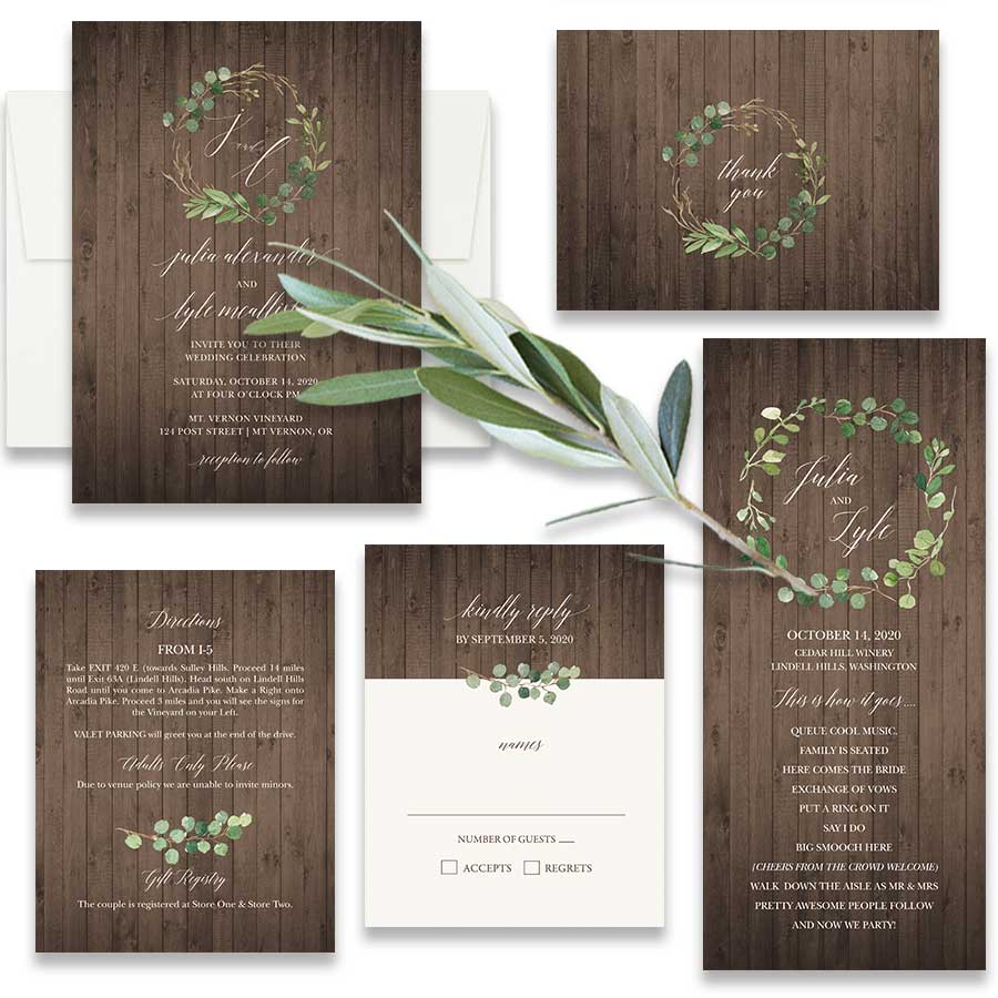 Vineyard Wedding Invitations Lush Greenery Rustic Barn Wood. Your vineyard wedding just will not be complete without the loveliness