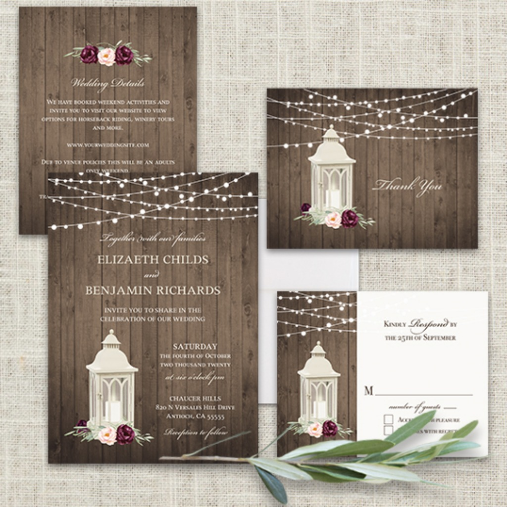 Lantern Wedding Invitation Bohemian Burgundy Blush Floral