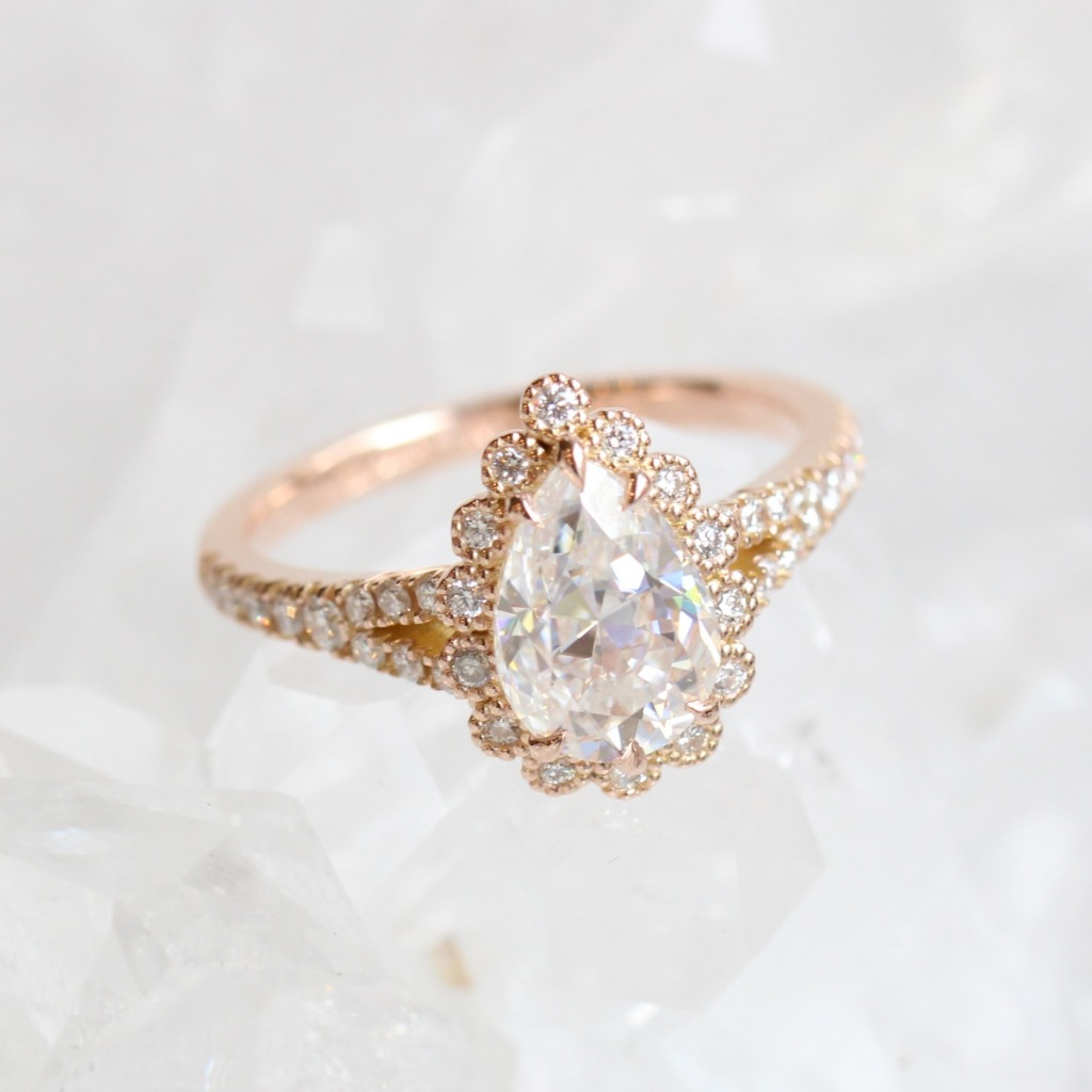 Bespoke custom made engagement ring by La More Design Jewelry ~ This unique vintage inspired halo diamond ring features a larger pear