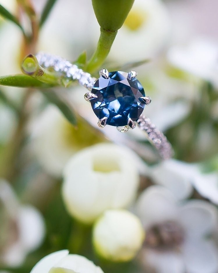 Here's a closeup of the hand cut Montana Sapphire from yesterday's post. Adorable water droplet is not included. 💦🌷🍃💙�
