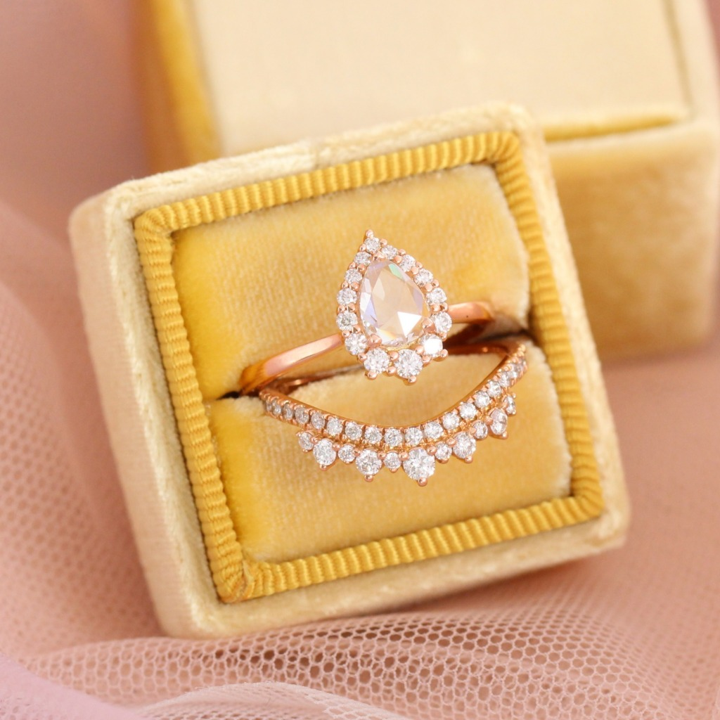 Ready for your holiday proposal? This gorgeous yet unique rose cut diamond engagement ring in rose gold tiara halo ring nesting perfectly