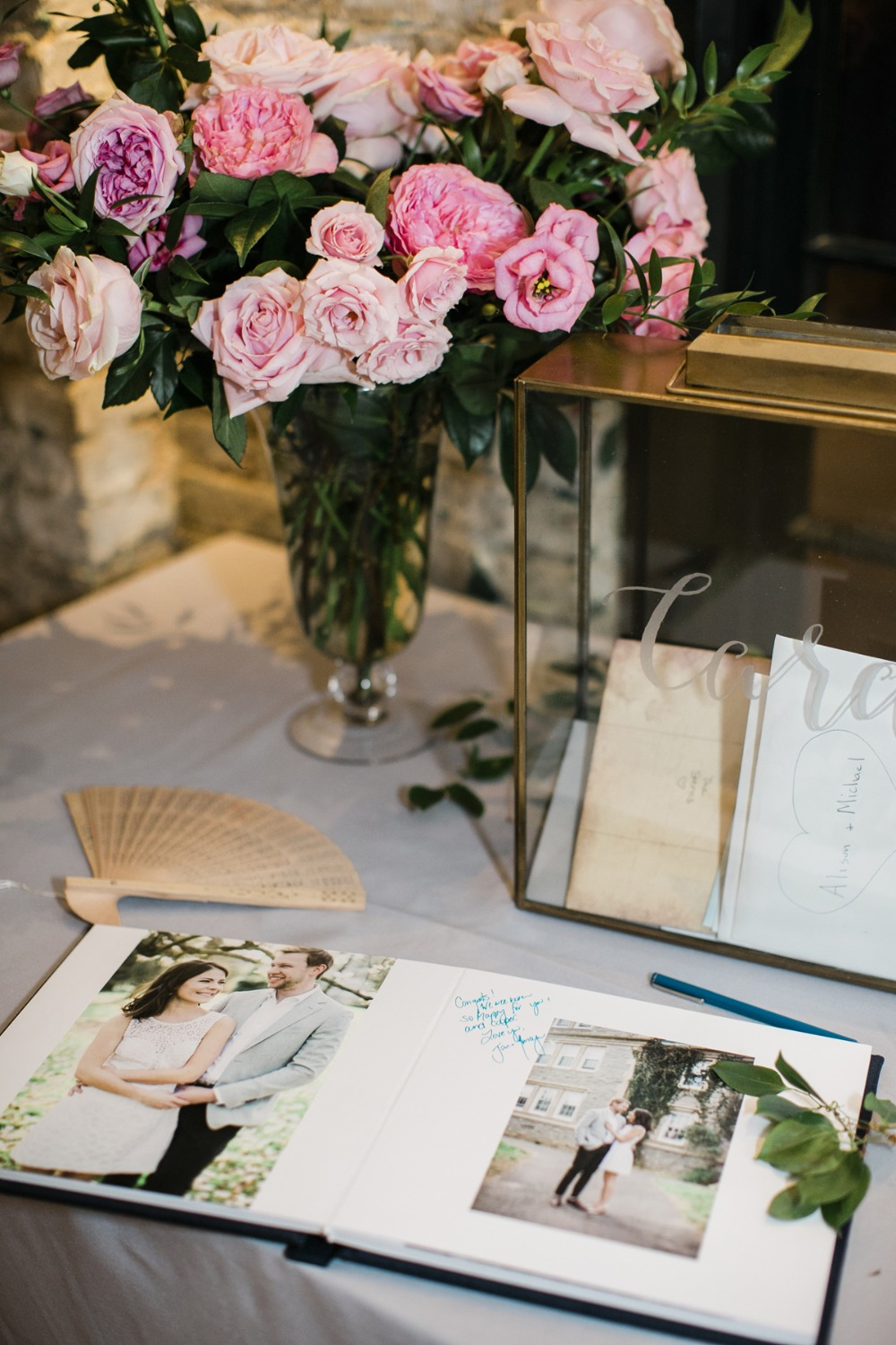 wedding welcome table with guest book
