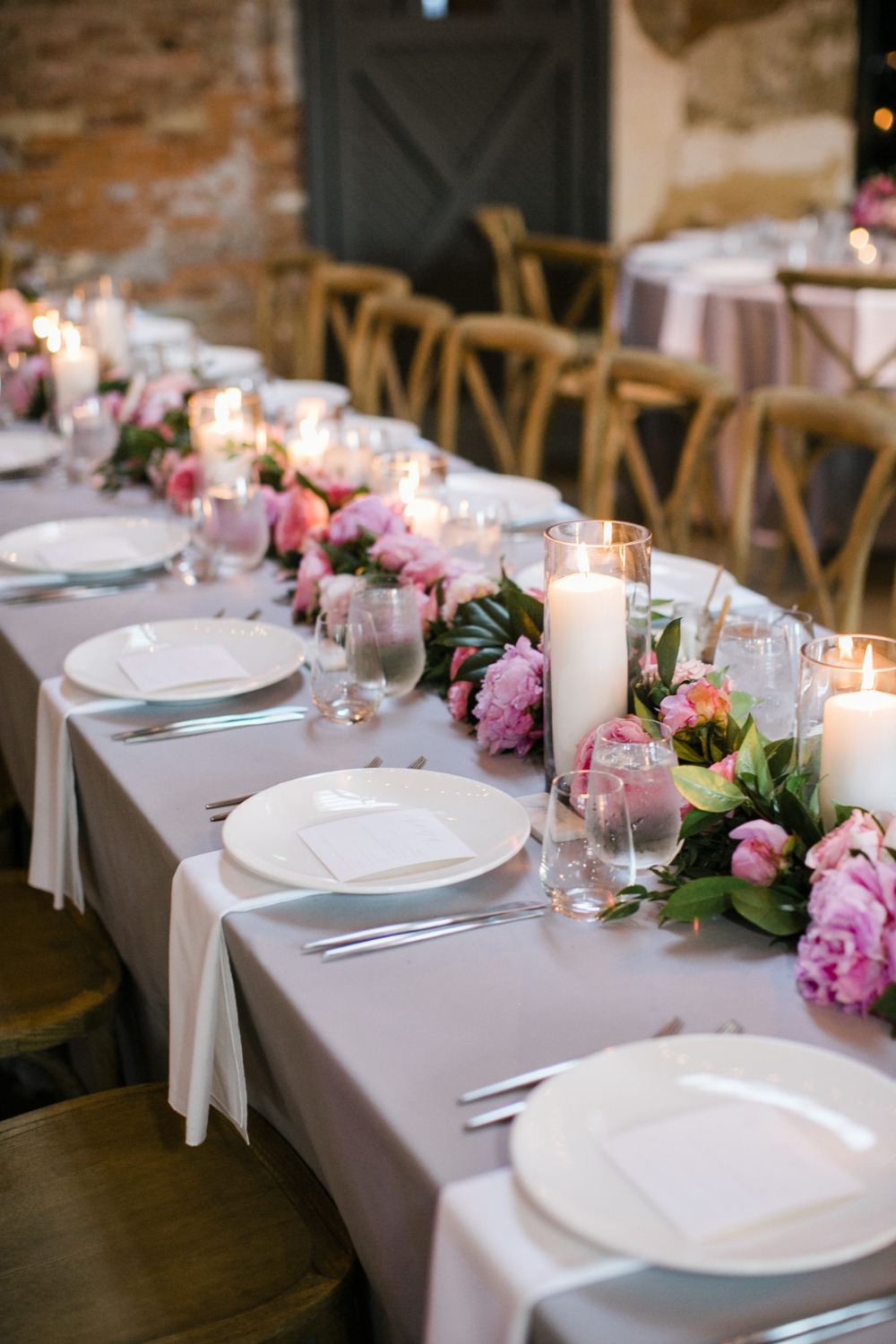 soft grey white and pink table decor