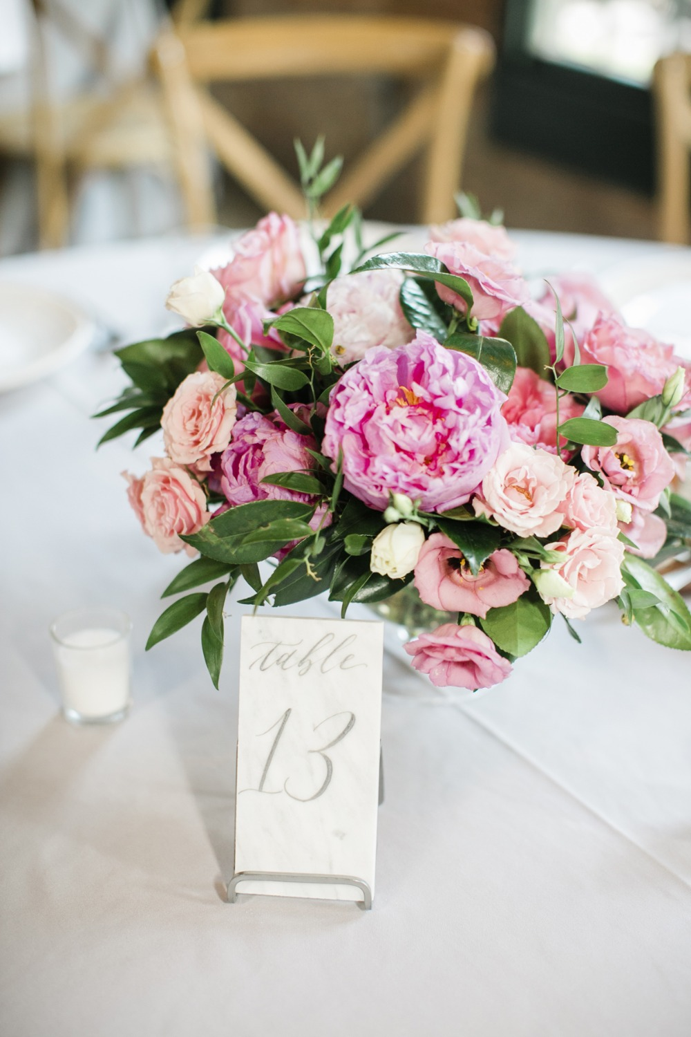 pink and blush floral centerpieces