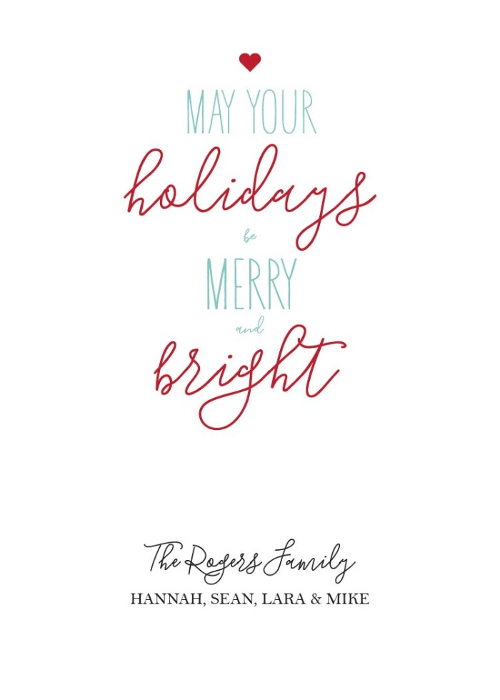 Print: Free Printable Merry & Bright Holiday Card