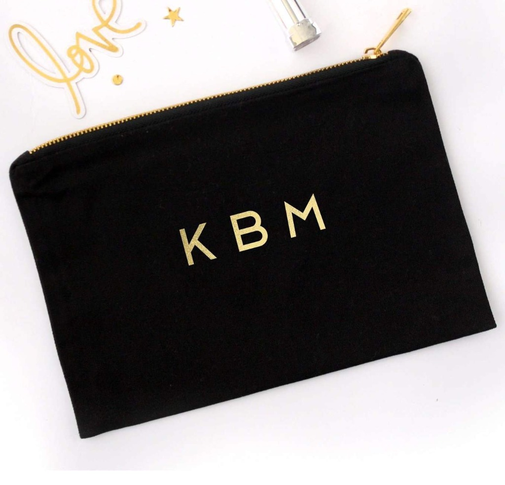 If you're still on the hunt for the best bridesmaid gifts, this Foil Printed Cosmetic Bag with Monogram is PERFECT! Choose your bag