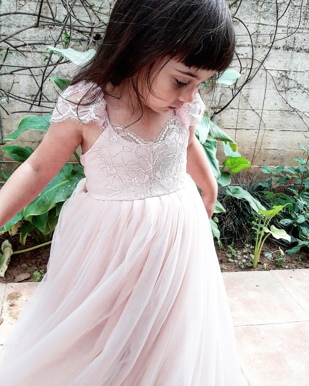 Pale pink Chantilly lace Flower Girl dress