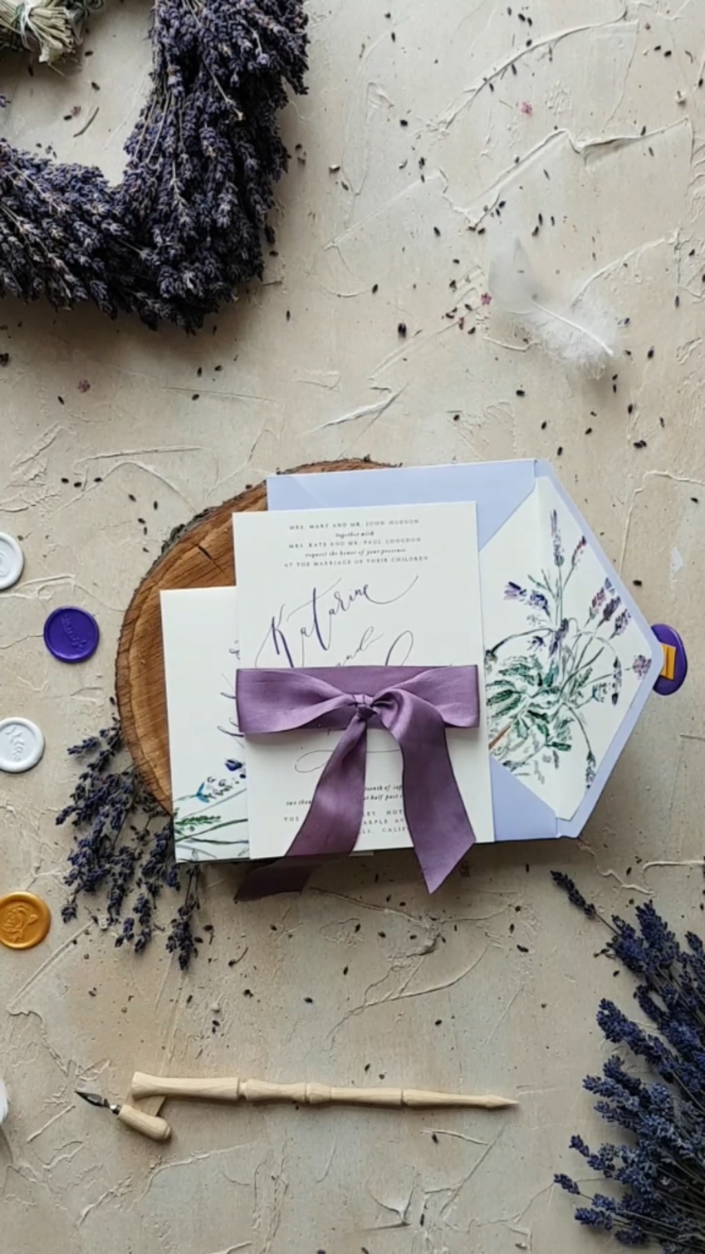 Modern Calligraphy wedding invitations with lavender