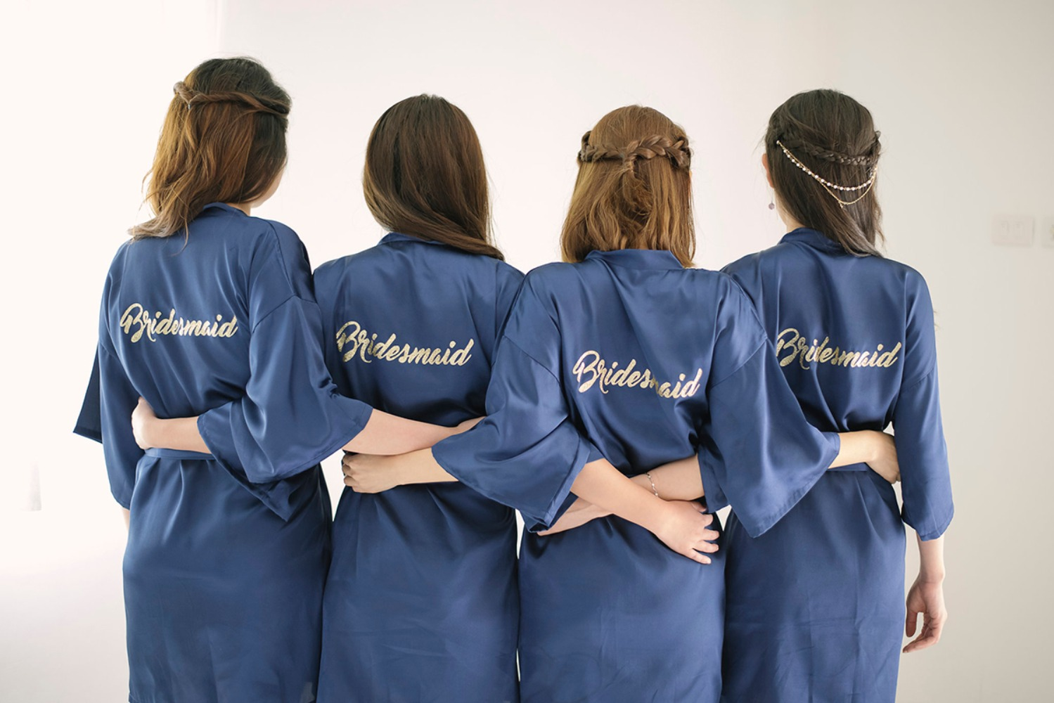 Navy and gold bridesmaid robes