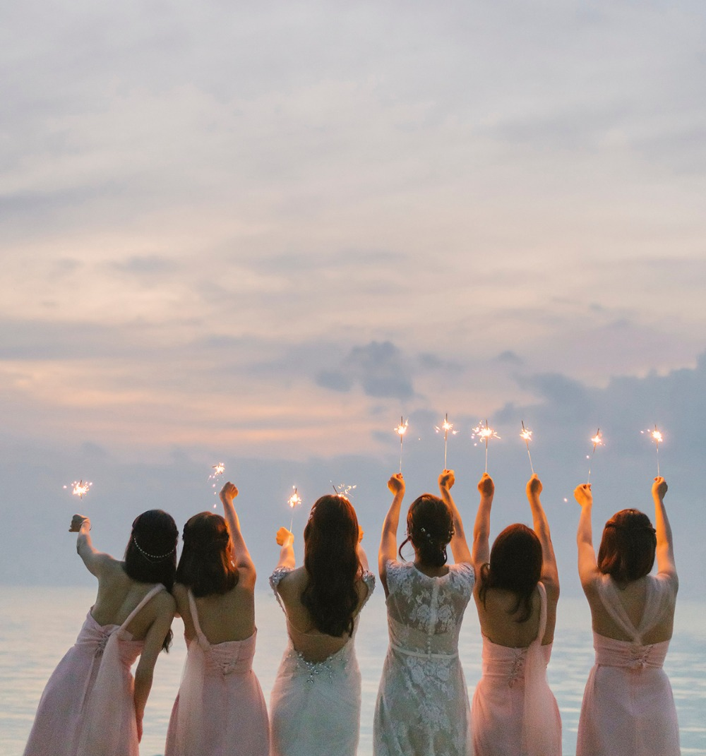 Bridesmaids and sparklers