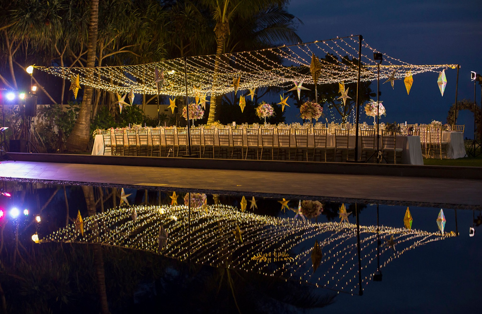 Beautiful reception under a canopy of lights