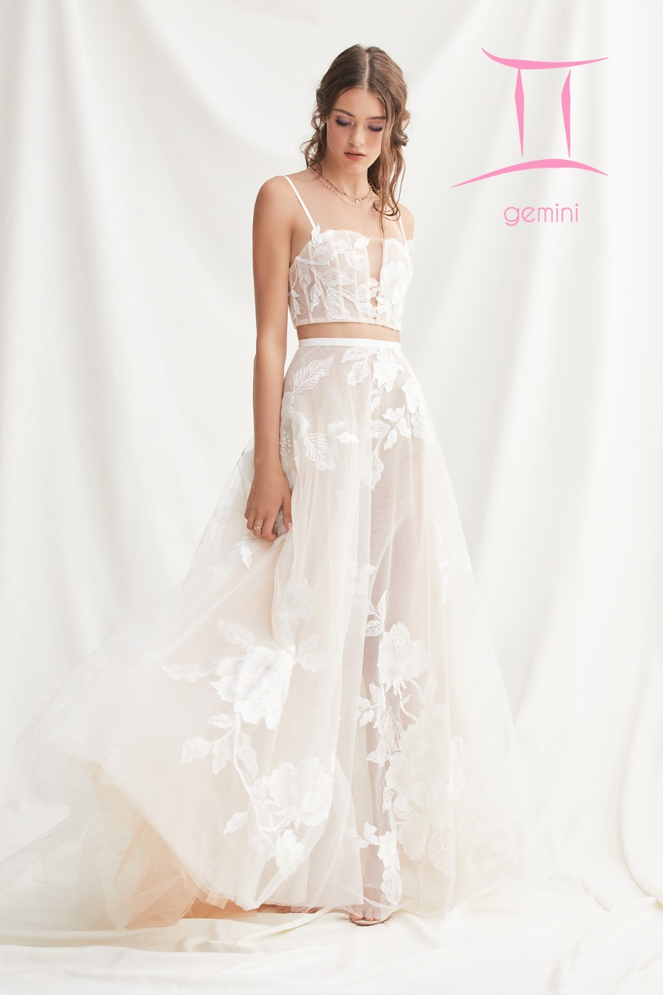 crop top wedding dress for the Gemini Zodiac