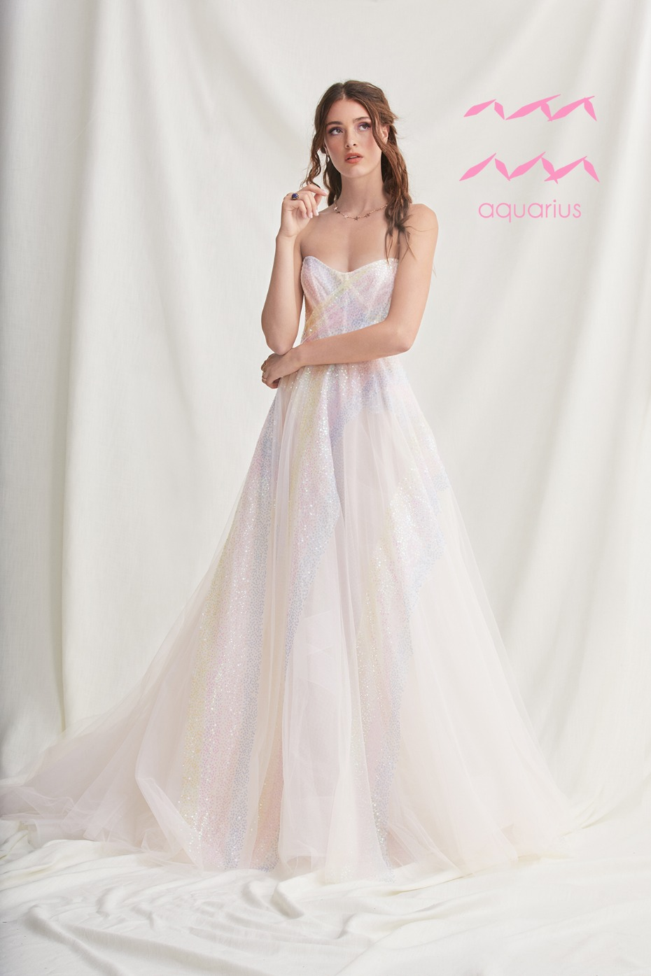 rainbow sparkle wedding dress for the Aquarius Zodiac