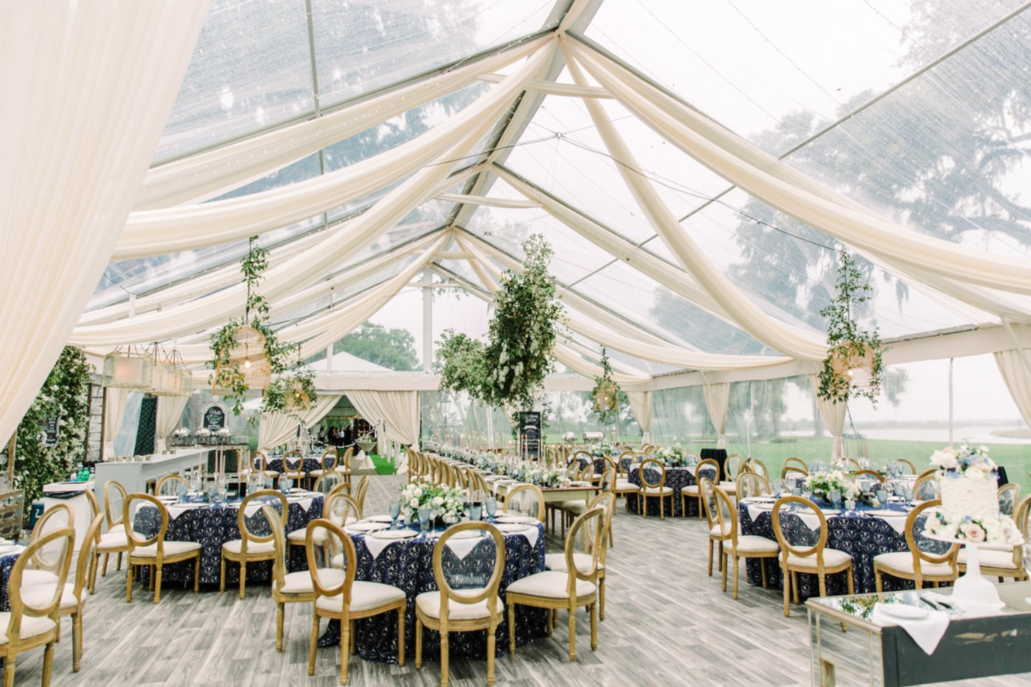 Stylish tent wedding reception