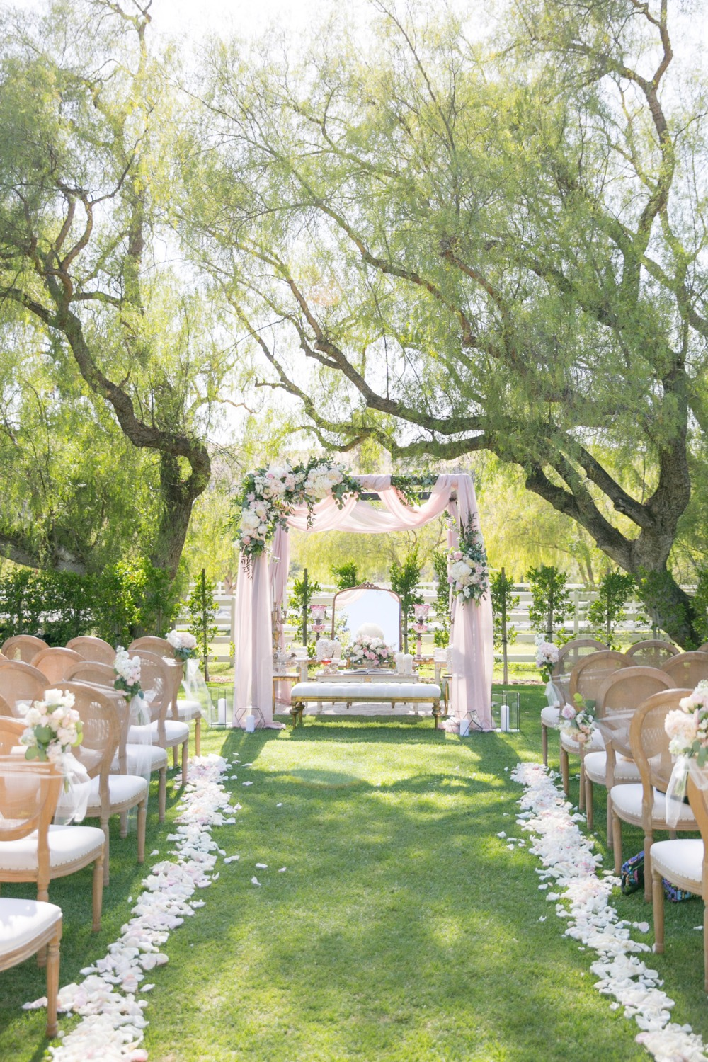 wedding ceremony decor in pink and white