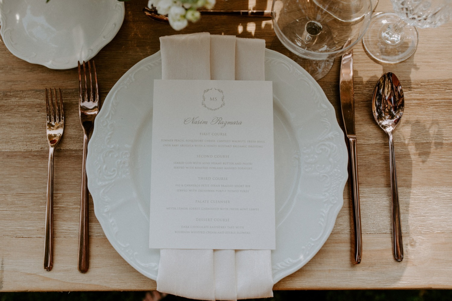 ivory and rose gold place setting