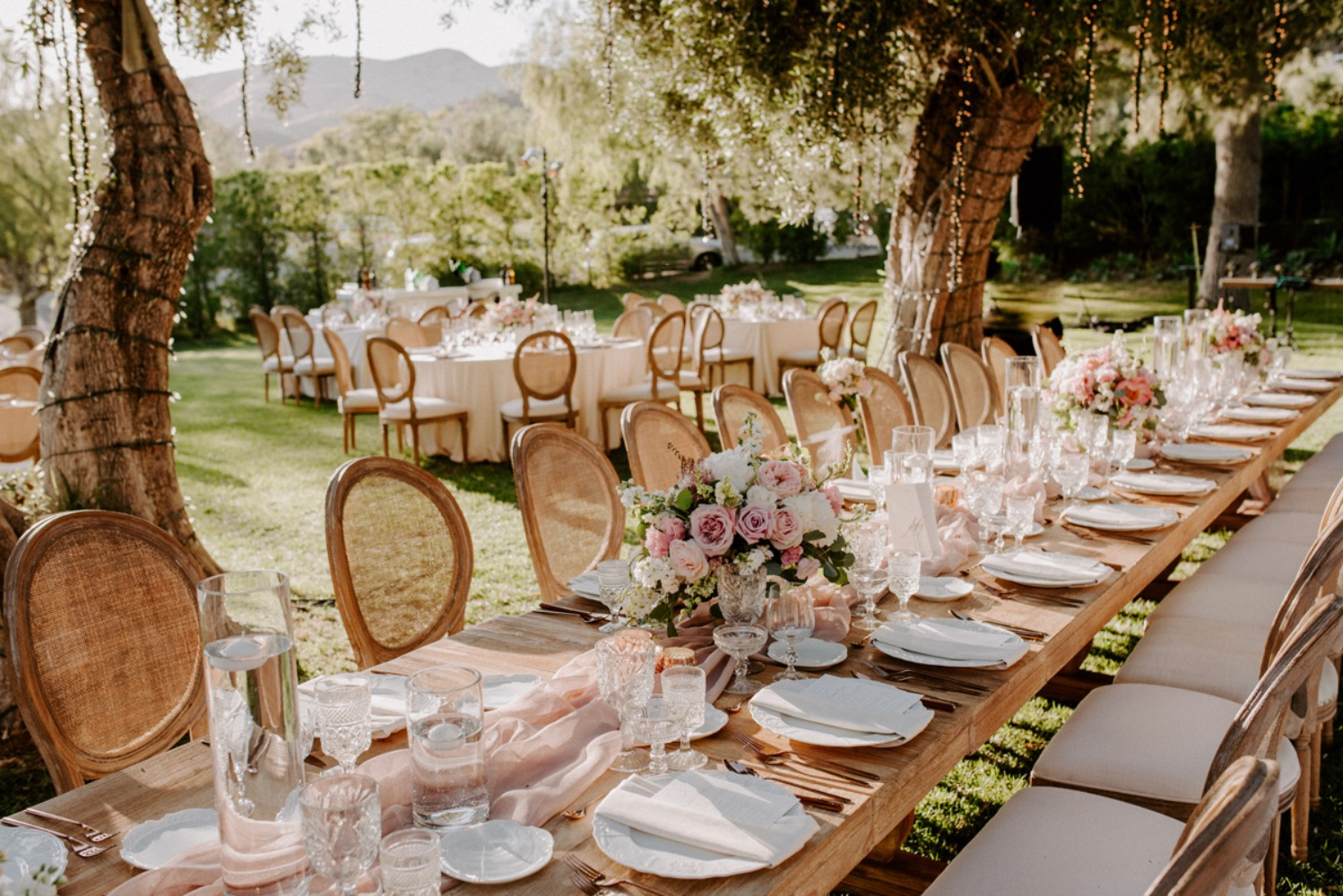 glam garden family style seating