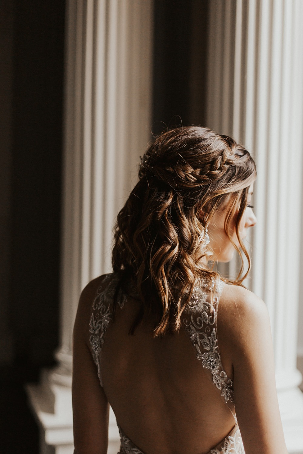 braided half up wedding hair