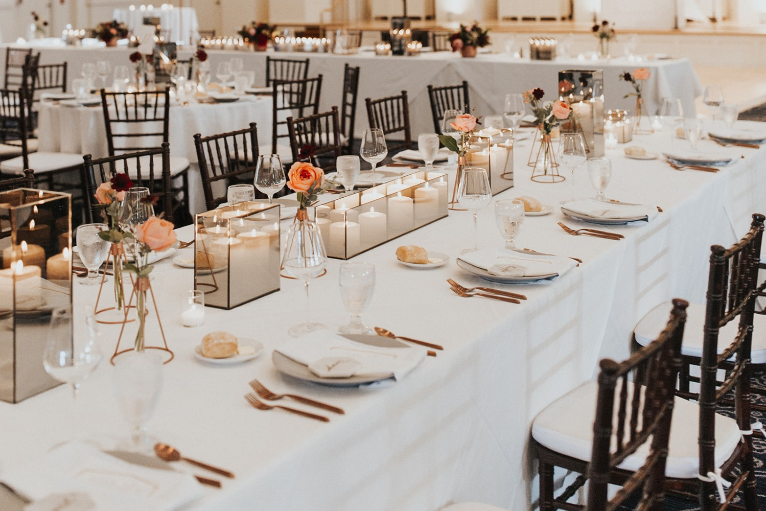 modern candle lit wedding table