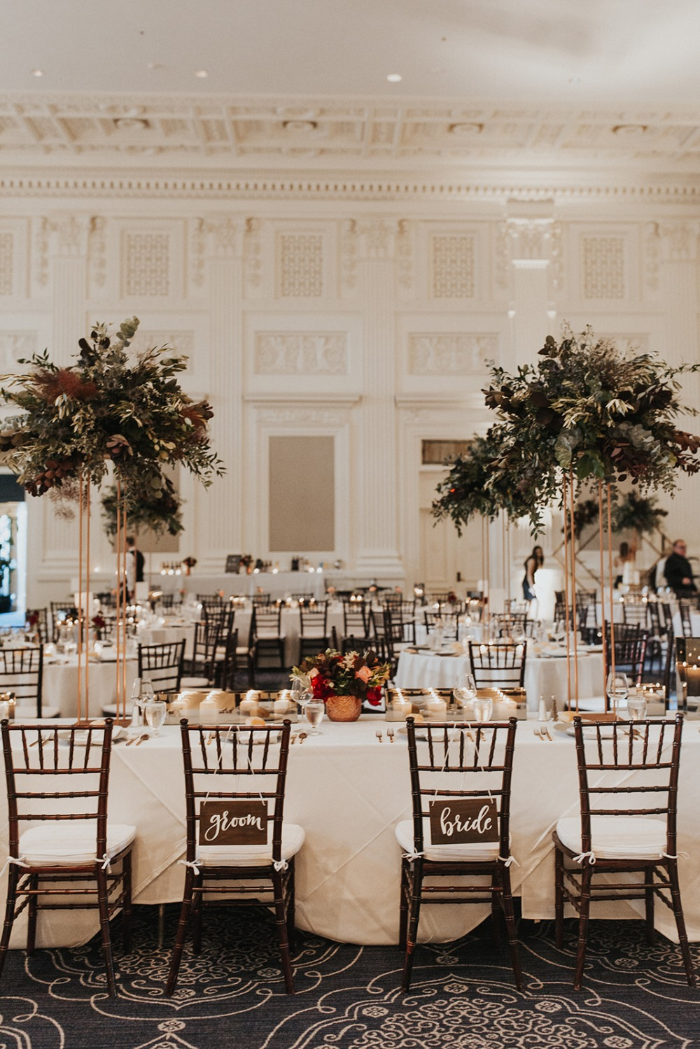 bride and groom and wedding seats
