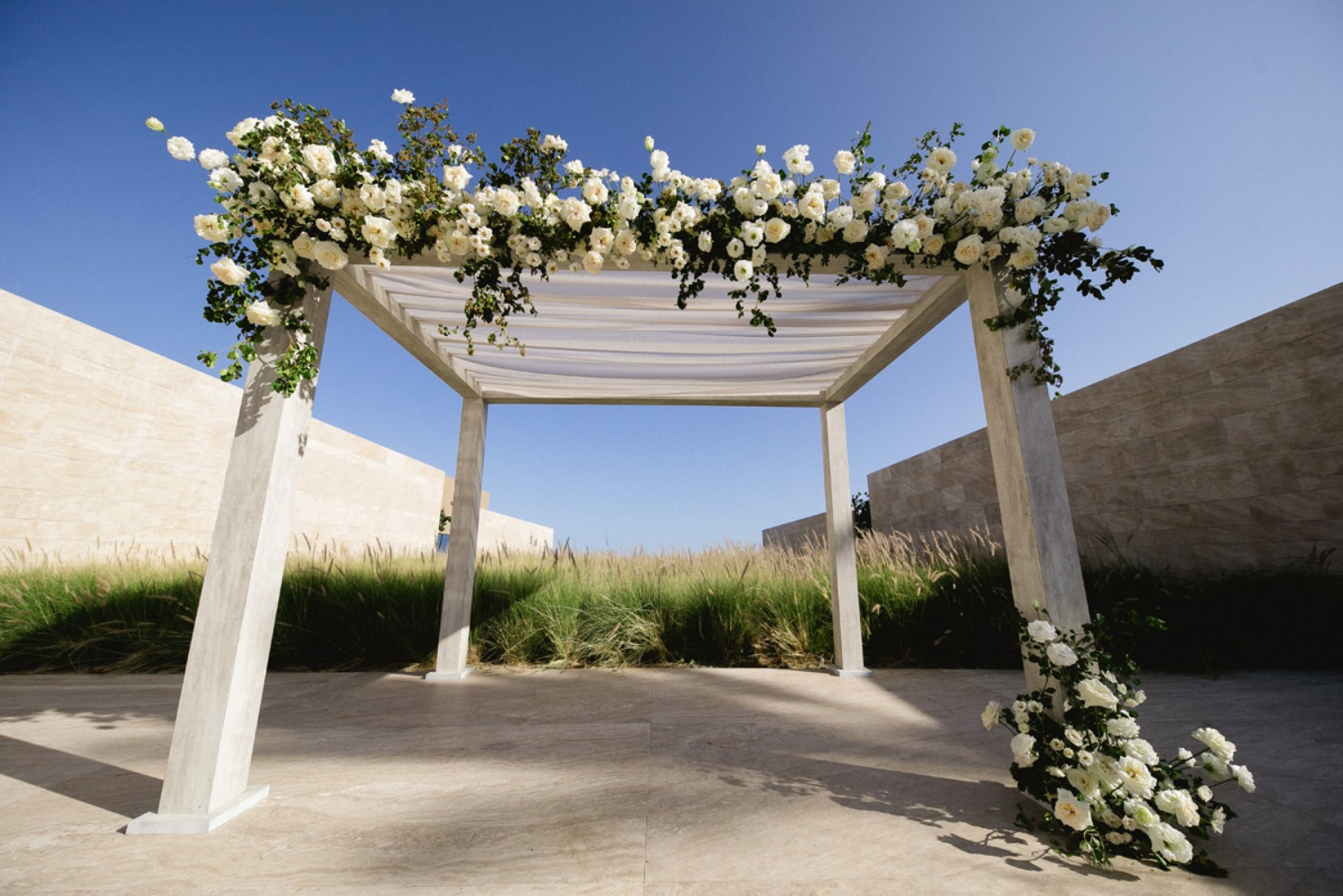 Ceremony arbor with roses
