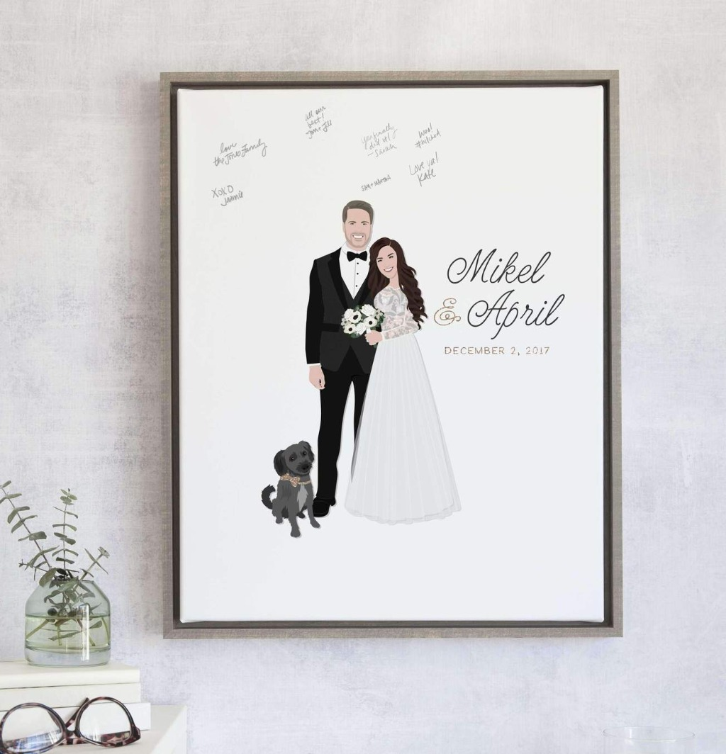 If you want the Miss Design Berry experience, our best seller, the Wedding Guest Book Alternative with Couple Portrait - The Penny