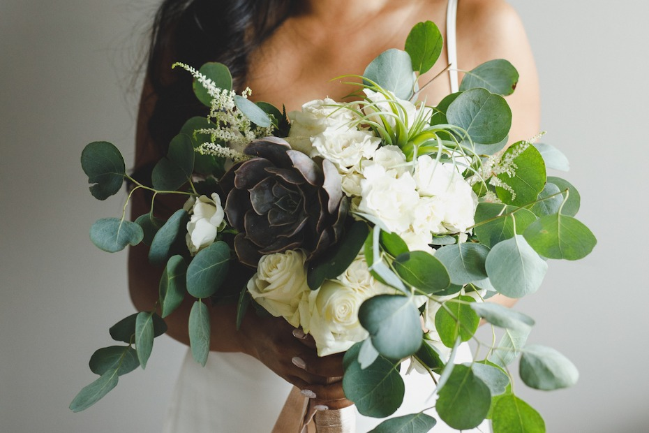 Industrial boho wedding look and succulent bouquet