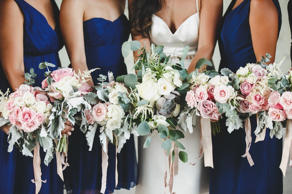 Jewel tone sapphire wedding with blush and cream velvet wrapped bouquets