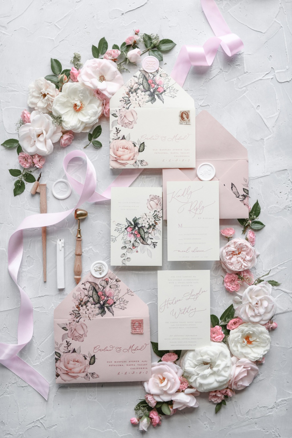 Wedding invitations with garden roses