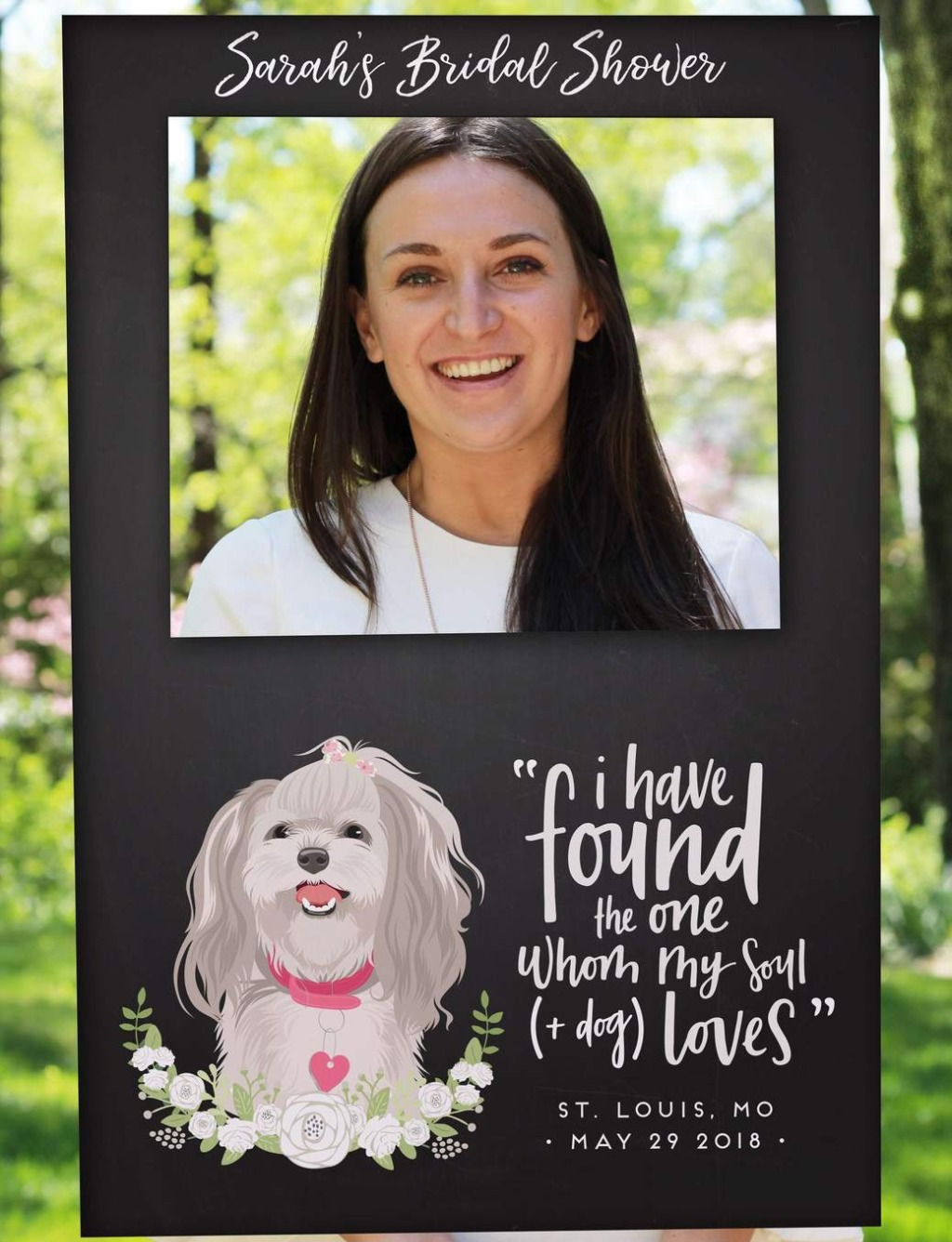 Our Chalkboard Photo Frame Prop with Pet Portrait is a super fun way to bring a little personality to your bridal shower or wedding