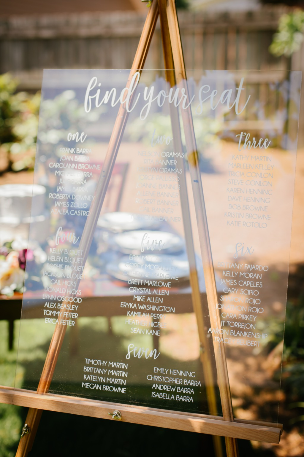 Our acrylic seating chart sign is a stylish way to show your guests to their seats. Customized with your guests names and tables, this