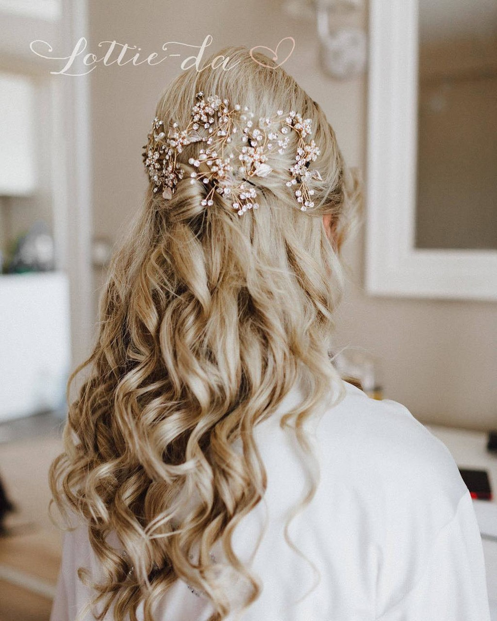 "Perfect touch; the ""Violetta Long"" Hair Vine for a beautiful Blush & Gold wedding."