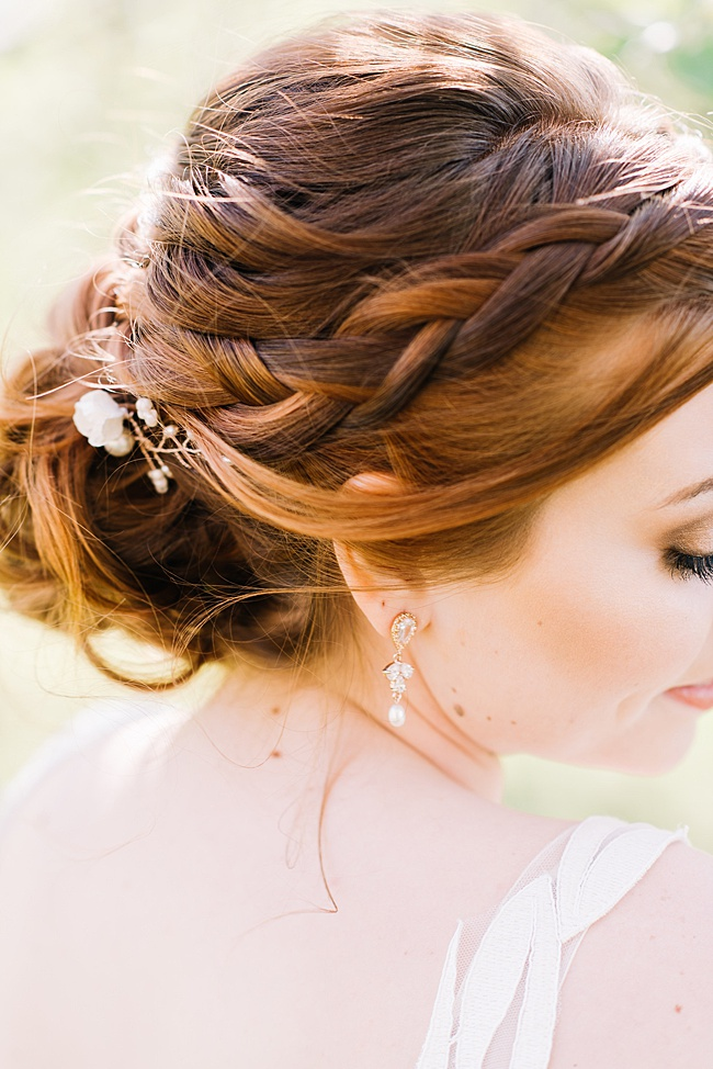 Rose gold bridal earrings & floral headpiece by J'Adorn Designs wedding accessories.
