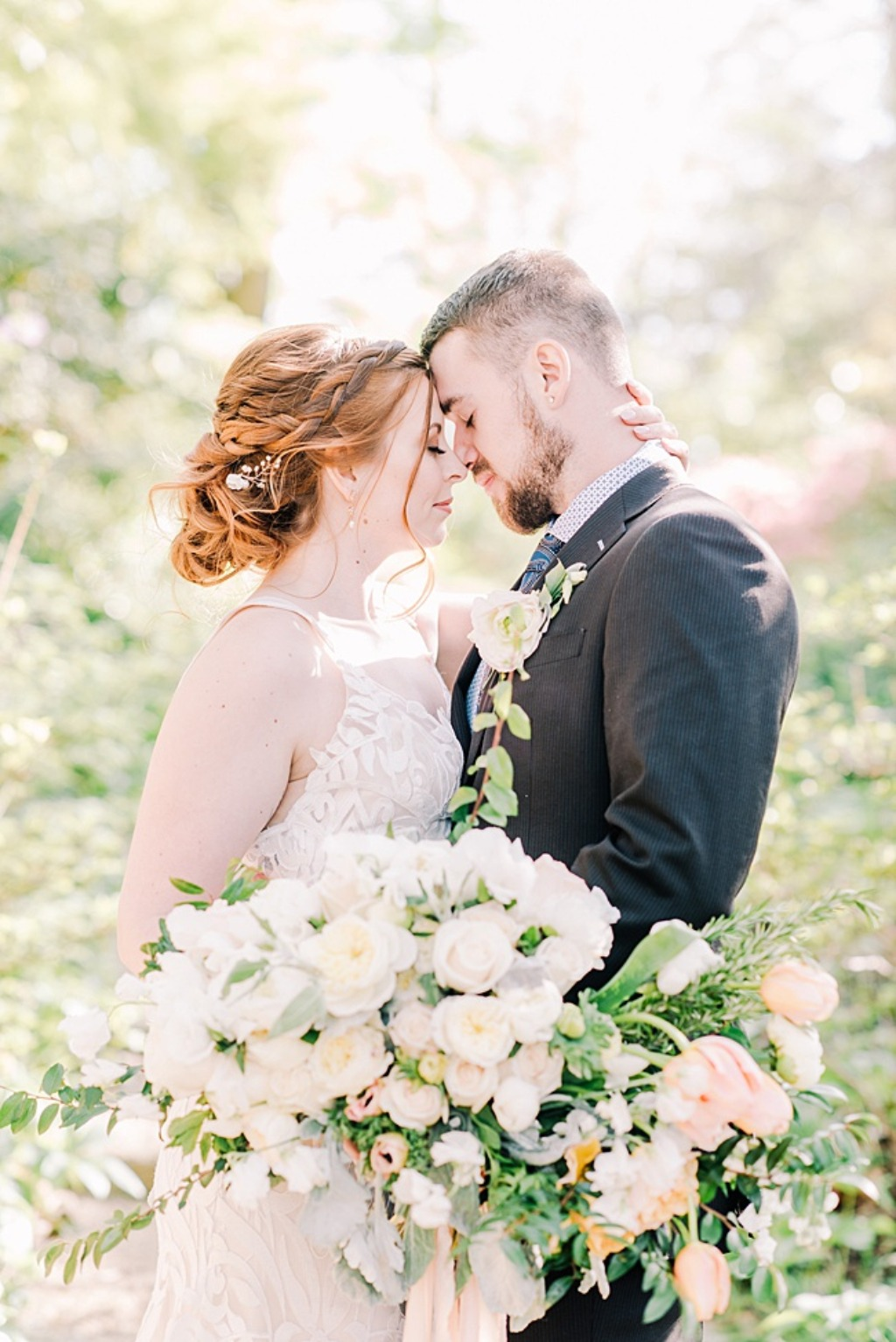 Springtime garden wedding in Maryland featuring rose gold bridal headpiece and earrings by J'Adorn Designs bridal jewelry.