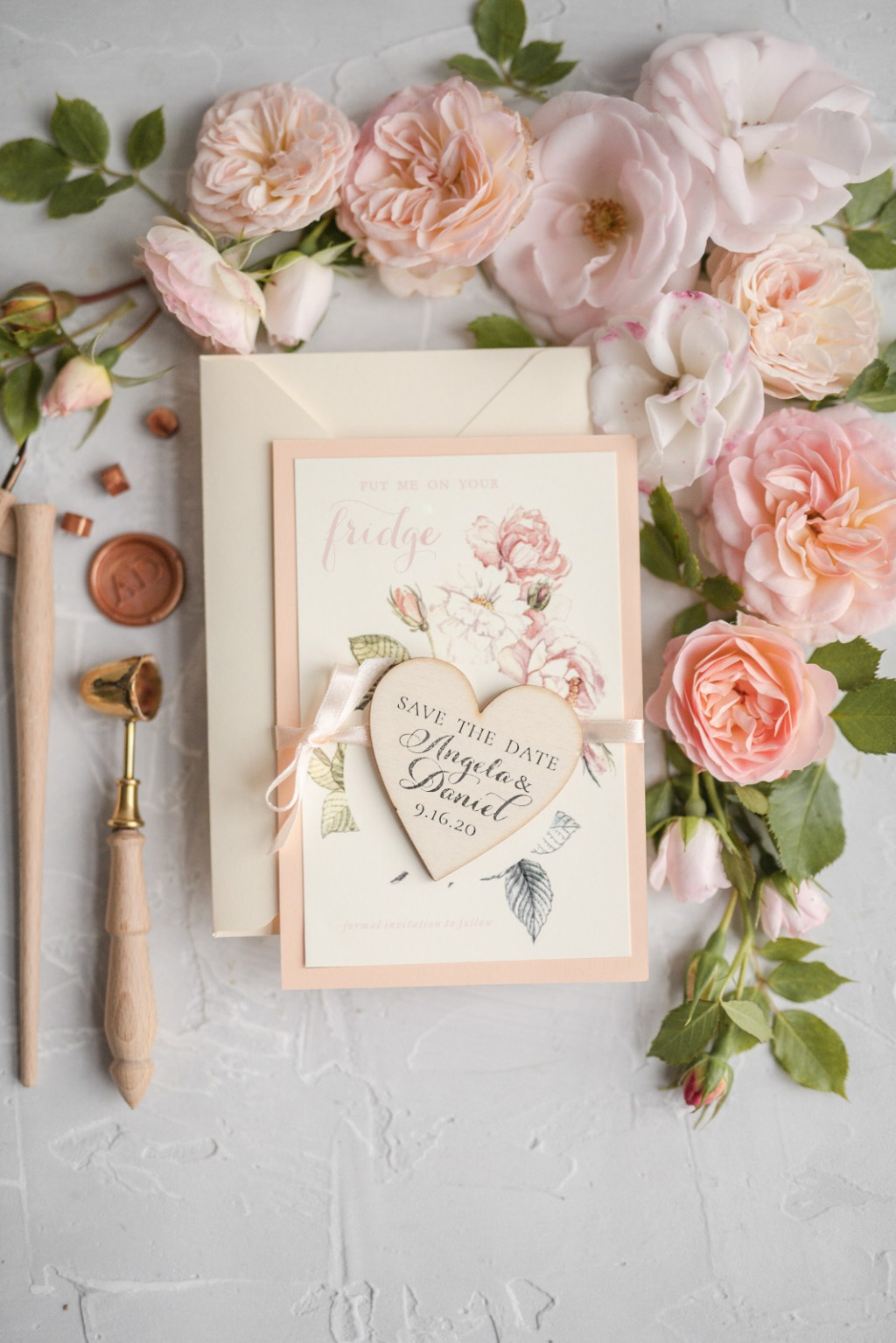Save the date -peach and wood magnet